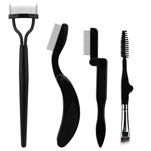 Akwox 4 piezas El kit de cepillo de pestañas de Eyebrow Brush, peine de cejas, cepillo de metal separador de pestañas para la herramienta de maquillaje de belleza, Eyelash Comb Curlers Rímel Aplicador