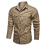 N\P Camisa casual de algodón de los hombres de cuello alto de los hombres de bolsillo botón camisa de los hombres de manga larga camisa de los