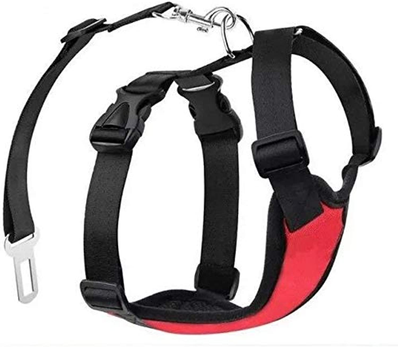 Shoppy Star Pet Dog Auto Vest Harness with Car Seat Belt Leash Safety Pet Car Multipurpose Nylon Pet Car Vehicle Safety Harness Adjustable  Red, XL