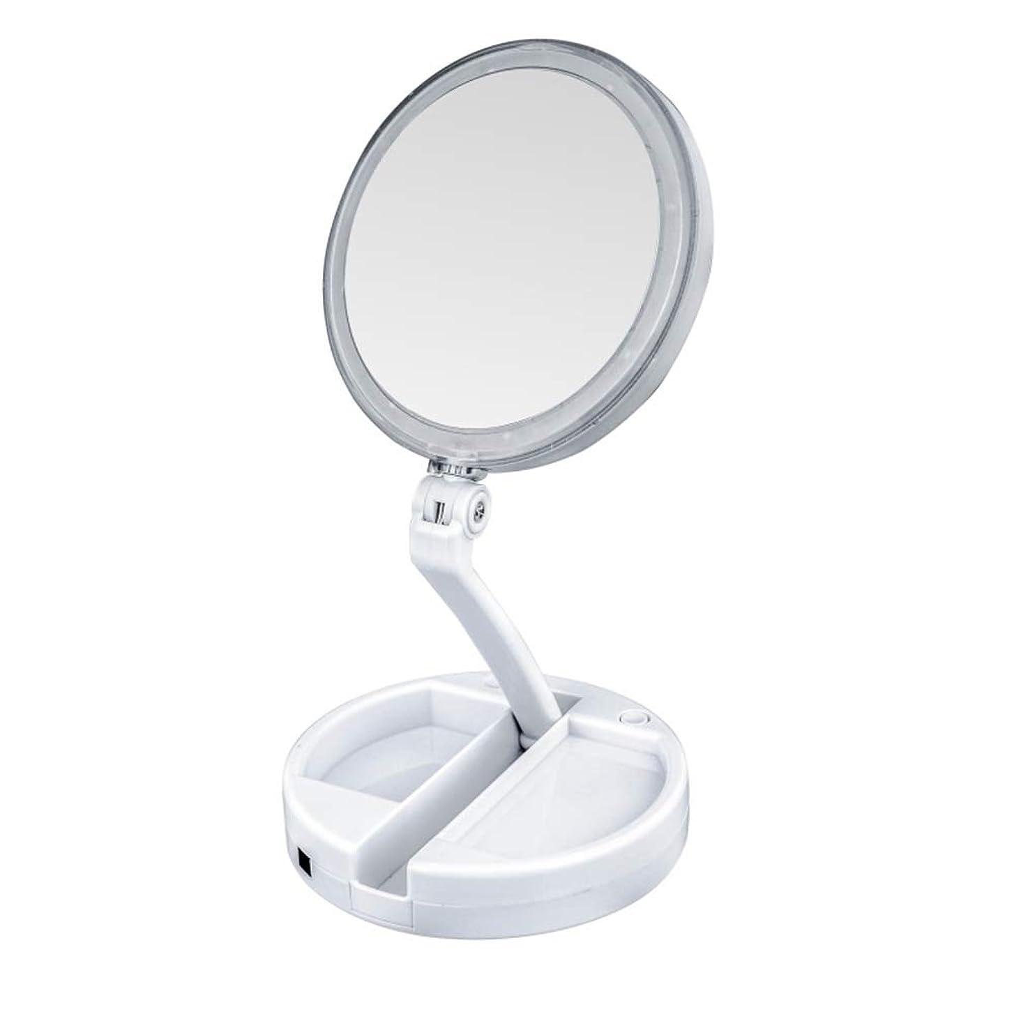 洪水ポルティコグラフlily's JP home 化粧鏡 拡大鏡 LEDライト付き 女優ミラー 両面鏡 折りたたみメイク鏡 携帯便利360°回転ミラー USB充電式と電池式 収納ボックス付き 照明用