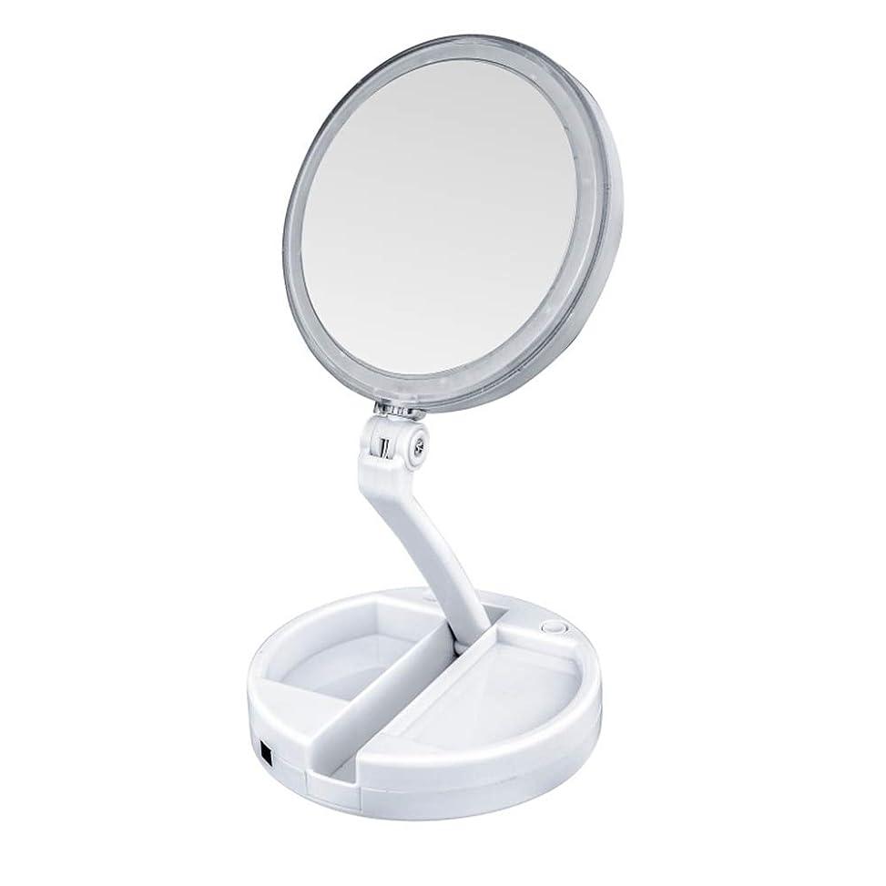 温かい植物学全部lily's JP home 化粧鏡 拡大鏡 LEDライト付き 女優ミラー 両面鏡 折りたたみメイク鏡 携帯便利360°回転ミラー USB充電式と電池式 収納ボックス付き 照明用