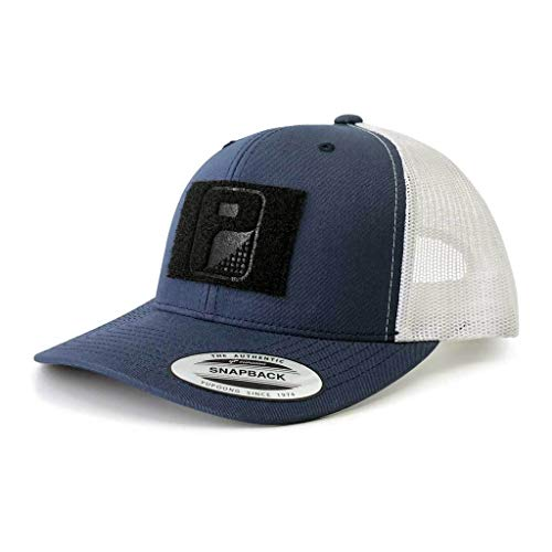 Pull Patch Tactical Hat | Authentic Snapback 2-Tone Curved Bill Trucker Cap | 2x3 in Hook and Loop Surface to Attach Morale Patches | 6 Panel | Navy Blue and White | Free US Flag Patch Included