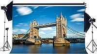 HD ビニール7X5FTダブルタワーブリッジの背景ロンドンエレガントな建築テムズ川の背景青空白い雲自然春写真の背景結婚式観光写真スタジオの小道具KX652