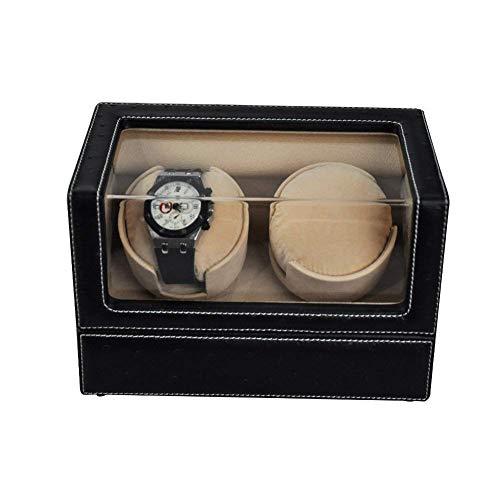 HAOYANG-boîte de montre Way Winder Automatic 2 montres Batterie - Boîte à voilure automatique de montre Double Noir - Watch Binder Boîtes pour hommes - Way Binders pour montres automatiques - Noir / H