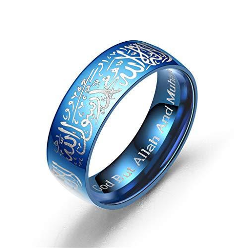 Yinuneronsty Ringe aus Titan, Koranstahl, für Messaging, religiös, Islamik, arabisch, Gott Ring