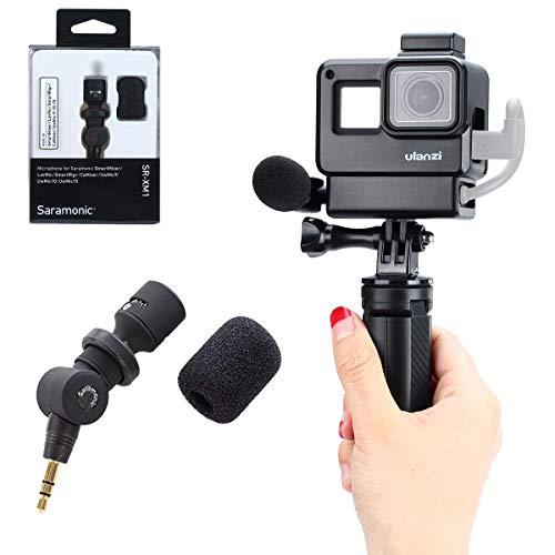 Vlog Setup for Gopro Hero 7 6 5, V2 Housing Case +Saramonic SR-XM1 3.5mm Wireless Video Recording Microphone + Mini Tripod Handle