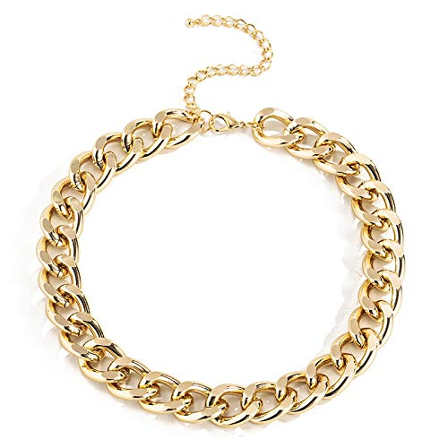 Ingemark Cuban Chunky Link Chain Choker Unisex Punk Style Thick Wide Necklace Jewelry (S3 Golden)