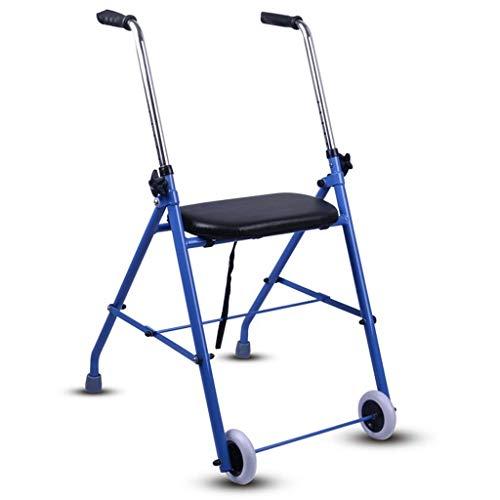 Einfache Idee Aluminium Rollator Walker Fold Up und Komfortable Butterfly Grip, Gepolsterter Sitz, Gummiräder, Griffhöhe Kann Blau Eingestellt Werden, T-C