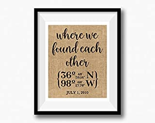 Where we found each other | Latitude Longitude GPS Coordinates | 100 percent Burlap or Canvas Anniversary Gift | Where We Met | Wedding Location