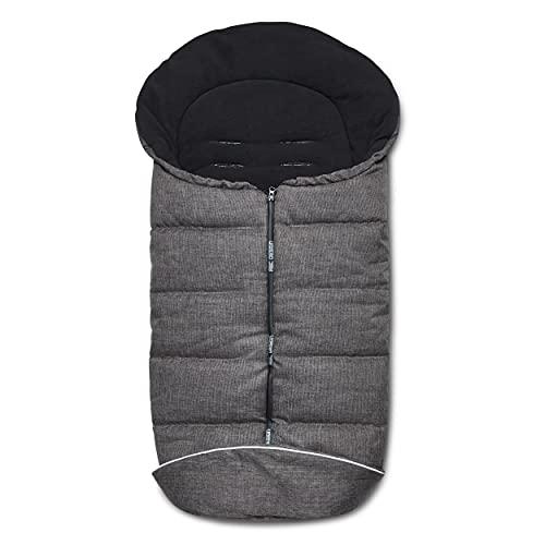 ABC Design Winterfußsack Diamond Edition – gepolsterter Fußsack für kühlere Temperaturen – variable Anpassung an den Gurt des Kinderwagens – Farbe: asphalt