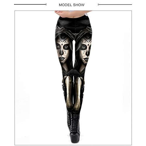 CKUZI 3D-Druck Yoga-HosenMode Sugar Girl Skull Fitness Frauen gedruckt Legging Slim Fitness Gothic Hosen