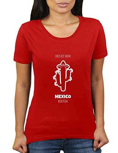 Dies ist Mein Mexico Kostüm - Faschingskostüm Karnevalskostüm - Damen T-Shirt von KaterLikoli, Gr. XL, Red