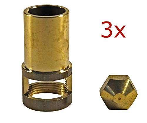 YOURGRILL hochwertige Gasdüsen für Brennerrohre 4,5 KW mit Luftmischhülse im 3er Set,Gasmischhülse Tauschdüse Gashahn