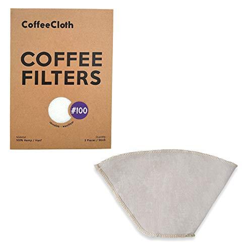 Earthtopia 3er Set wiederverwendbare Kaffeefilter aus Stoff | 100% Hanf | Filtertüten für Kaffeemaschine und Handfilter | Permanentfilter Mehrwegfilter Dauerfilter (3, Größe 100)