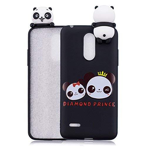 HopMore Compatible con Funda LG K10 2017 Silicona Motivo 3D Divertidas TPU Gel One Piece Kawaii Ultrafina Slim Case Antigolpes Caso Protección Flexible Cover Design Gracioso - Dos Pandas