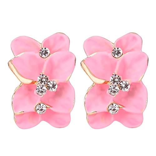 JIFNCR Pendientes de flores delicadas, pendientes de cristal retro temperamento para mujer, aretes de flores populares, color rosa