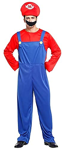KIRALOVE Disfraz de Super Mario Bros - Videojuegos - Disfraces - Halloween - Carnaval - Color Azul - Adultos - Hombre - niño - Talla única - Idea de Regalo Original