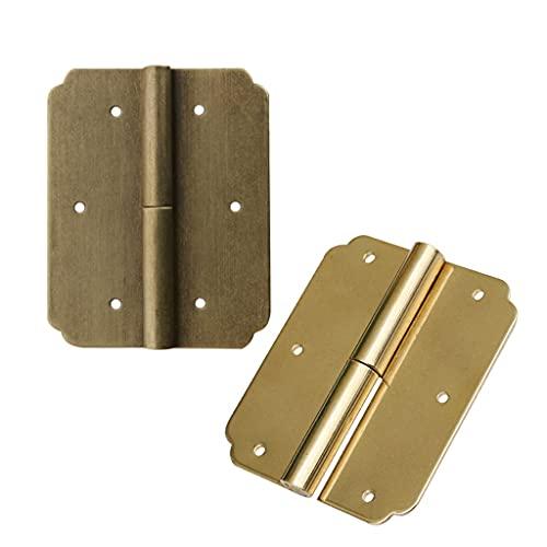YWSZJ 2 Piezas de bisagras de Oro + Tornillos de Hierro bisagras Decorativas Vintage Caja de joyería de Madera Caja de Vino Accesorios de Muebles (Size : Right6cm)