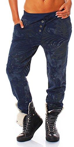 Malito Damen Jogginghose mit Jungle Print | Sporthose mit Muster | Baggy zum Tanzen | Sweatpants - Trainingshose 83728 (dunkelblau)