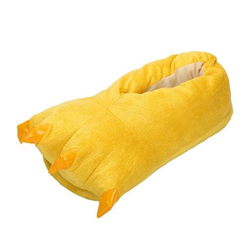 LATH.PIN Unisex Puschen Plüsch Hausschuhe Pantoffeln Kostüme Tierhausschuhe Geschenkidee, Gelb, L