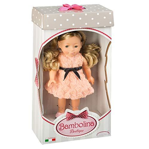 Dimian BD1601B - Puppe Bambolina Boutique mit langen Haaren und Kleid, ca. 30 cm