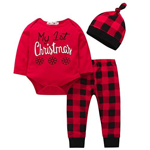 Jimmackey Neonato Rosso Natale Pagliaccetto, Lettera Stampa Tutine Body + Plaid Pantaloni + Cappello Bambino Vestiti Set