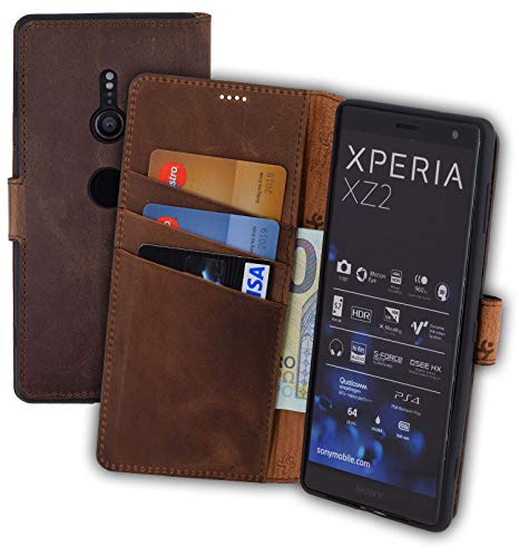 Suncase Book-Style kompatibel für Sony Xperia XZ2 Hülle (Slim-Fit) Leder Tasche Handytasche Schutzhülle Hülle (mit Standfunktion & Kartenfach - Bruchfester Innenschale) in antik Coffee