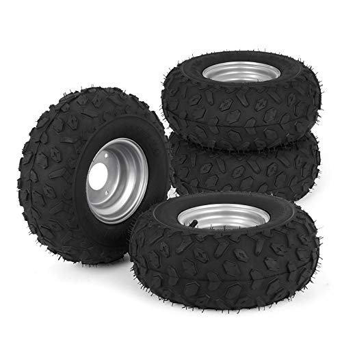 Bestauto ATV Go Kart Tires and Rims 145x70-6 Inch Golf Cart Tires 90CC Go Kart Buggy ATV Mini-bikes Quad Bike Tires and Wheels HUB- 3-hole Set of 4