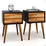 Giantex Nightstand Wooden End Table Bedside Table W/2 Glide Sliding Drawers, Mid-Century Accent Multipurpose for Bedroom, Living Room Storage Cabinet Home Furniture End Side Table (2,Black+Brown)