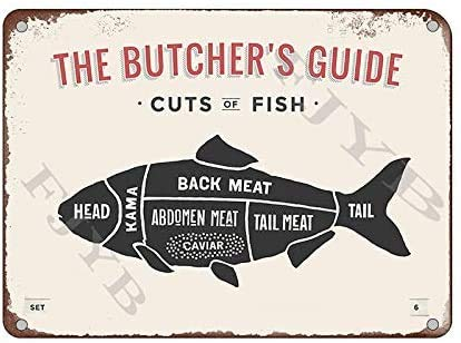 YYone The Butcher's Guide Series - Cartel creativo de metal para pared (20,3 x 30,5 cm)