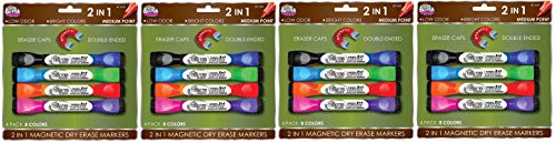 Board Dudes Double-Sided Magnetic Dry Erase Markers Assorted Colors 4-Pack (DDX89) (4-(Pack of 4))