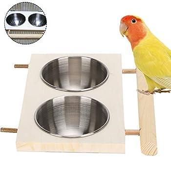 Cage à Oiseaux Mangeoire à Oiseaux Perroquet en Acier Inoxydable Bol d'alimentation Oiseau Coop Tasses Oiseaux Plat de Nourriture Mangeoire à Cage d'oiseau avec Support pour Boire(Double Bowl)