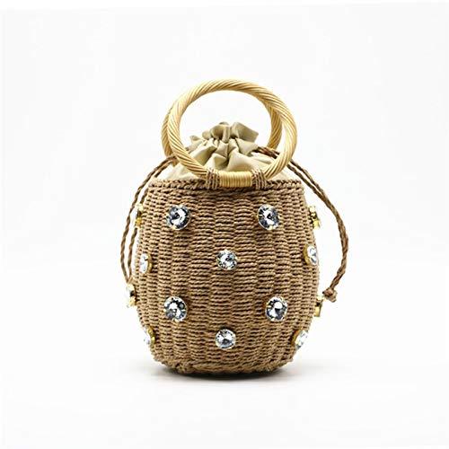 HUXIZ Rattan Handle Woven Women Bag 2020 New Diamond Pearl Straw Small Handbag Wild Style Women Bag Ins Rattan Shoulder Beach Bag (Color : Brown, Size : 17CM)