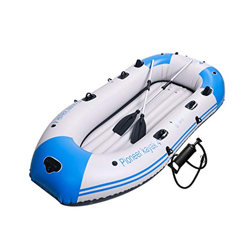 Yocalo Inflatable Boat Series,raft Inflatable Kayak, Fishing Boat Kayak,3-4 Person Boat with Aluminum Oars, Cushion, Rope,Repair Patch and High Output Hand Pump