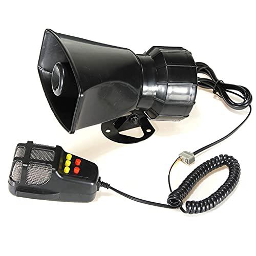 Upupto Alarma de Advertencia de automóvil Altavoz de la Alarma de la Advertencia Sirena Sirena Air Bugle PA Altavoz 12V Sirena Air Horn Megáfono Cocho Cuerno 110dB con micrófono