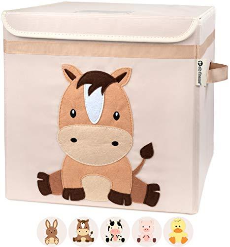 elb finesse ® Aufbewahrungsbox Kinder I Spielzeugkiste mit Deckel für das Kinderzimmer I Spielzeug Box (33x33x33) zur Aufbewahrung im Kallax Regal I Ordnungsbox I Bauernhof Motiv (Ferdi Pferd)