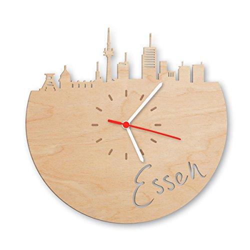 Skyline Essen Wanduhr aus Birken-Holz Made in Germany | Design Uhr aus Echtholz | Wand-Deko aus Birke | Originelle Wand-Uhr | Moderne Wand-Uhr im Skyline Design | Wand-Dekoration aus Natur-Holz