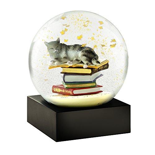 CoolSnowGlobes Katze auf Bücherstapel Schneekugel