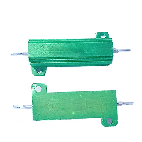 Aluminum Case Resistor 50W 20R Wirewound Resistor, for Power Supply, Inverter, Elevator, Stage Audio, Chassis Mounted Resistor Green, 2pcs