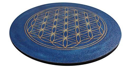 atalantes spirit Blume des Lebens Untersetzer - Set 4 Stück für Gläser - Farbe Blau, Größe 9,5cm, Lebensblume Stirnchakra