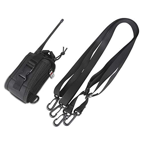 BUBM Adjustable Sheath Case Holder Compatible with Two Way Radio/Ham Radio/Cellphone for Baofeng/Motorola/Midland/Uniden Radios / iPhone4 4s 5 5s 6 Plus Samsung, with Shoulder Straps