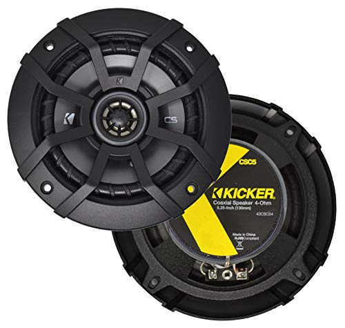 Kicker CSC5 5.25' 225W 2 Way 4 Ohm Coaxial Car Audio Speakers, Pair | 43CSC54