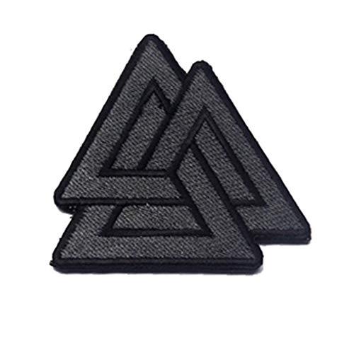 Ohrong Valknut Geborduurd Tactical Morale Patch Driehoek Symbool Nordic Viking Odin Armband Badge Embleem Applique met Haak&Loop