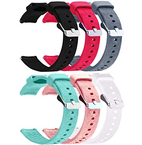 Bands Compatible with Amazfit Bip & Amazfit Bip Lite Band 20mm Quick Release Soft Silicone Replacement Straps for Amazfit Bip Watch Band (Black&Red&Pink&Gray&Teal&White)