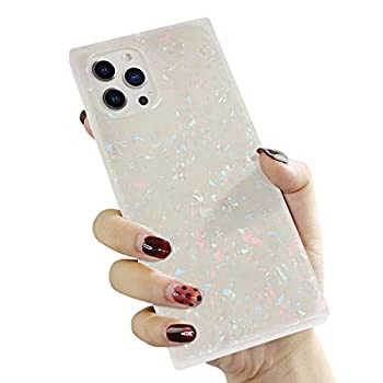 Manleno Compatible with iPhone 12 Pro Max Case Marble Square Edge Glitter Slim Protective Phone Case Women Girls Flexible TPU Silicone Rubber Case Shockproof Bumper Cover  Opal