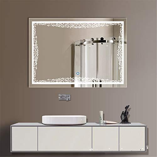 ZHTUYI Espejo de baño iluminado antivaho Smart LED multifunción para baño C
