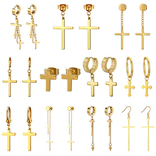CUPIMATCH [11 Coppie] Orecchini da Donna Uomo a Croce,Orecchini alla Moda in Acciaio Inossidabile Stile Semplice ed Elegante Perfetto Regalo,Colore Oro