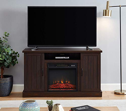 """EDYO LIVING Rustic Farmhouse Electric Fireplace TV Stand Media Storage Television Console Shelves for 55"""" TVs (Espresso)"""
