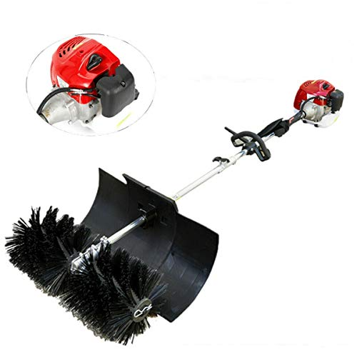 Gas Power Sweeper Hand Held Broom Cleaning Driveway Turf Grass 1700W,Shaft Paddle Sweep Attachment 52cc