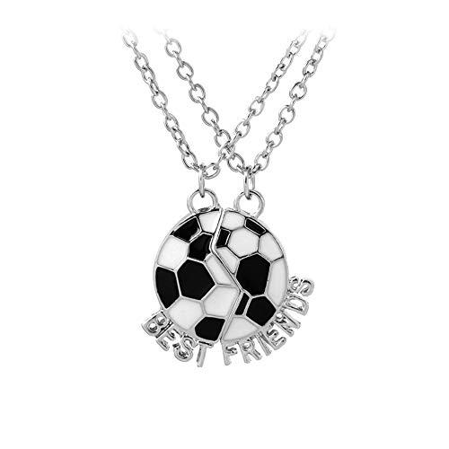 N-K PULABO - Juego de 2 collares con colgante de letras de fútbol esmaltado con texto en inglés 'Best Friends'